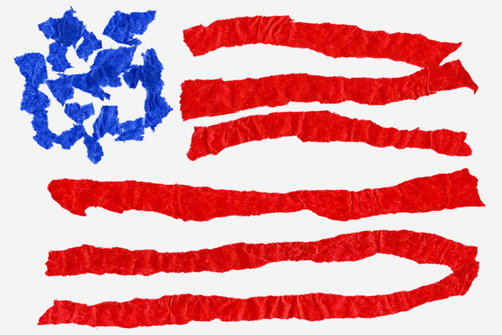 Tissue Paper Crafts For Kids - American Flag Using Tissues