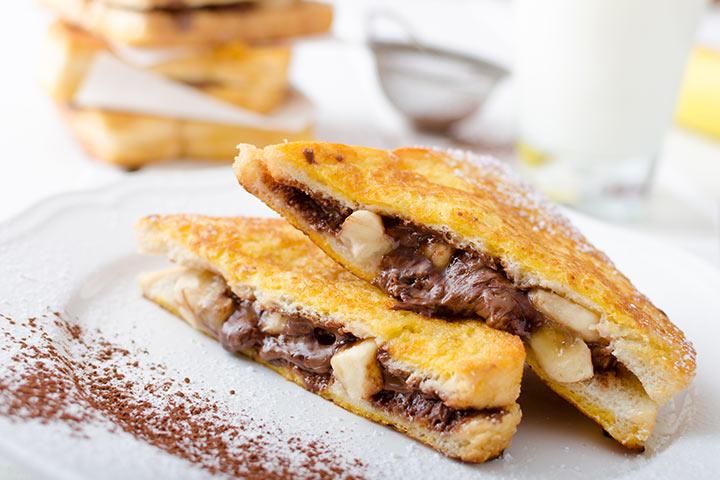 Banana Recipes For Kids - Banana And Chocolate French Toast