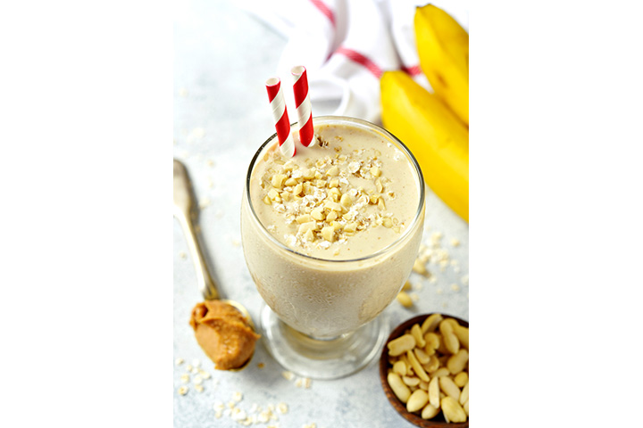 Banana and peanut butter milkshake