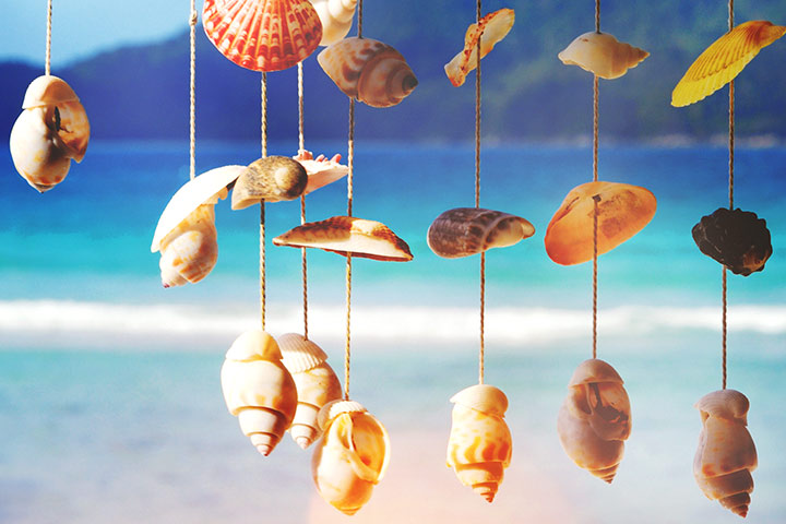 Nature Crafts For Kids - Bead, Sea Shell And Stone Wind Chimes