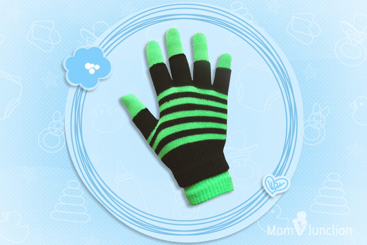 Minecraft Clothes For Kids - Boys & Girls Unisex Neon Stripes Magic 2 in 1 Winter Gloves with Fingerless Gloves