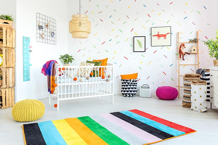 Bright-colored baby girl room idea
