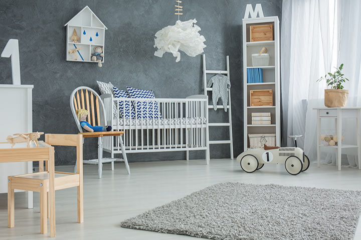 Grey color baby girl room idea