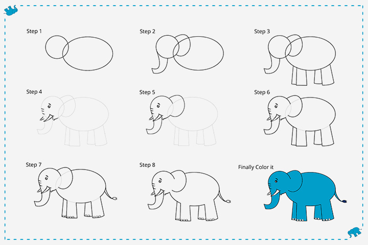 How To Draw An Elephant For Kids - Cartoon Elephant