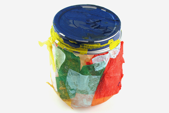 Tissue Paper Crafts For Kids - Jar Decorations