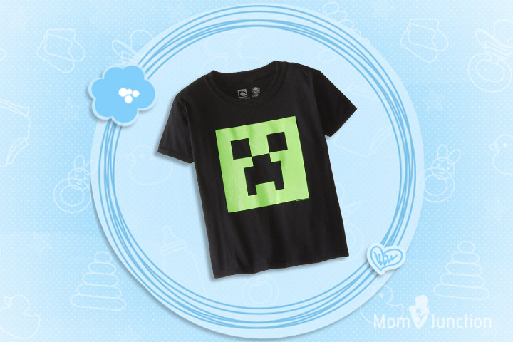 Minecraft Clothes For Kids - Minecraft Boys' Creeper Glow-In-The-Dark Face Youth Tee Shirt
