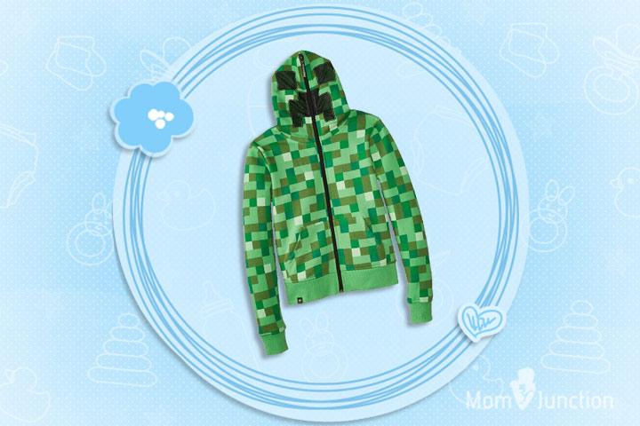 Minecraft Clothes For Kids - Minecraft Creeper Premium Zip-Up Youth Hoodie Sweatshirt