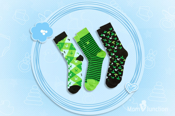 Minecraft Clothes For Kids - Minecraft - Green 3 Pack of Socks