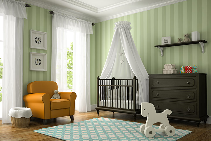 Mint green color baby girl room idea