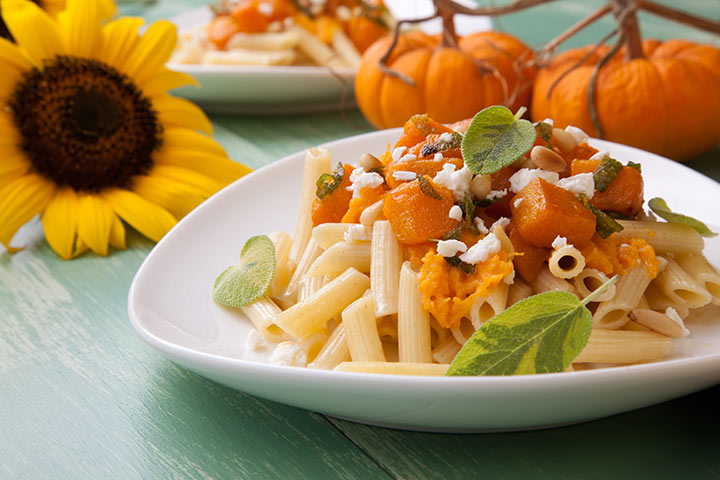 Lunch Box Recipes For Kids - Penne Pasta In Creamy Pumpkin Sauce