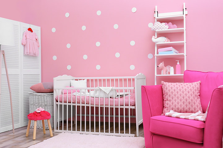 Pink color baby girl room idea