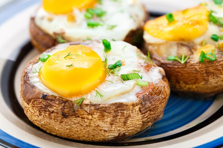 Protein Snacks For Kids  - Portobello Mushroom With Eggs And Cheese