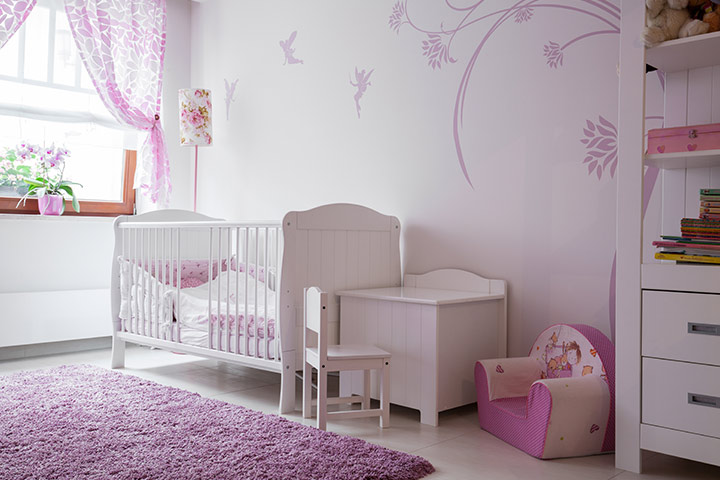 Purple color baby girl room idea