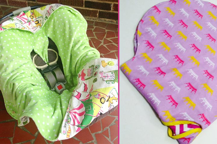 Taking your baby on a wintery evening gets easier with this hooded car-seat blanket.