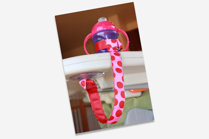 The sippy-cup leash is a great way to keep the cup latched instead of dropping off to the ground every time.