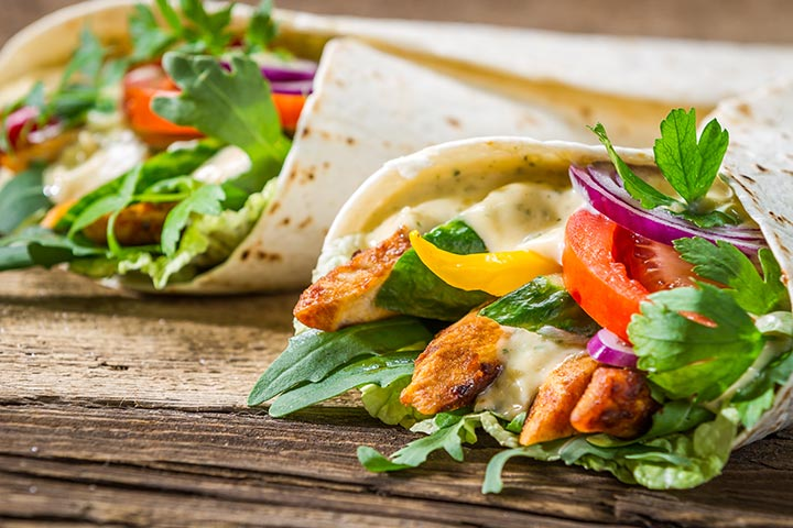 Lunch Box Recipes For Kids  - Wholemeal Chicken Wrap