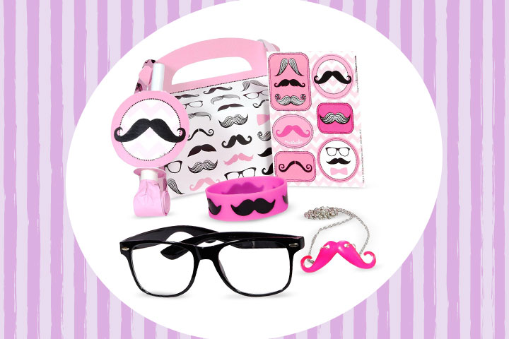 Party Favor Ideas For Kids - Pink Mustache Fun Party Favor Box