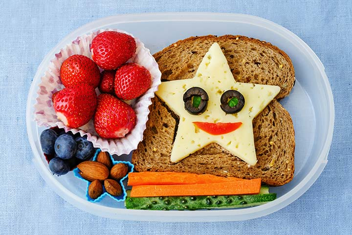Bento Box Lunch Ideas For Kids - Cheese And Toast, Fruits, Nuts, And Veggies Bento Box
