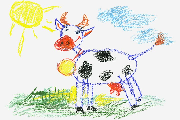 Cow Crafts - Color Pencil-Made Cow Drawing