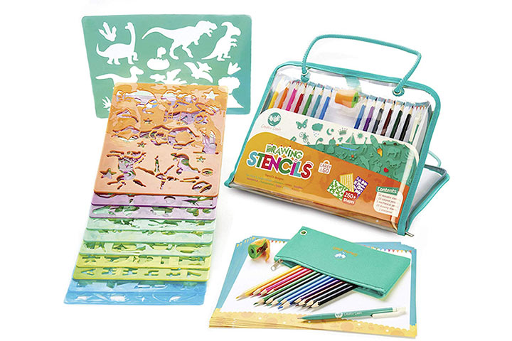 Creabow Crafts Drawing Stencils and Colored Pencils Arts And Crafts Set