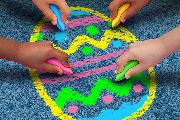 Egg Craft - Easter Egg Chalk Drawing