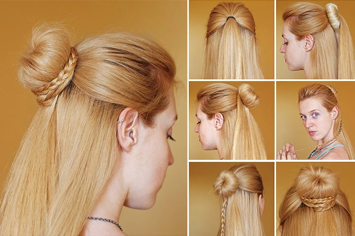 Hairstyles For Black Teenage Girl - Messy Half Up
