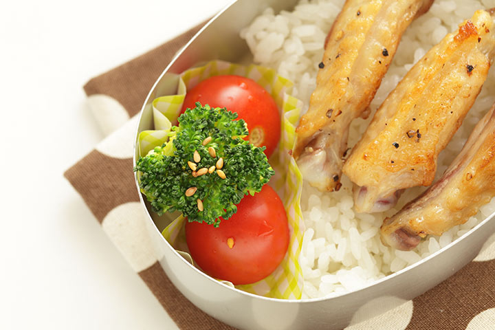 Bento Box Lunch Ideas For Kids - Rice And Chicken Strips With Vegetable Bento Box