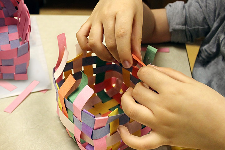 How To Make Paper Basket For Kids - Simple Construction Paper Basket