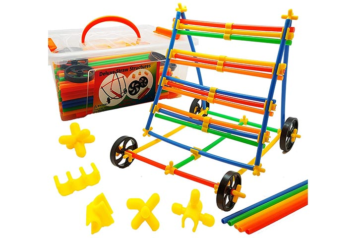 Skoolzy Wheels Straws and Connector Toy