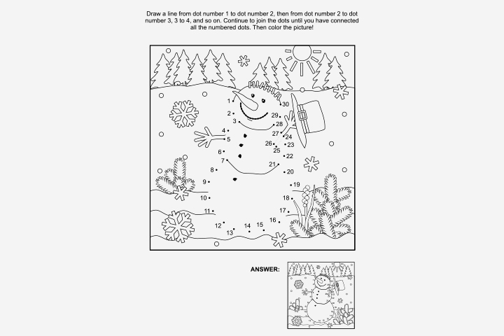 Activity Sheets For Preschoolers - Connect The Dots For An Image Activity Sheet