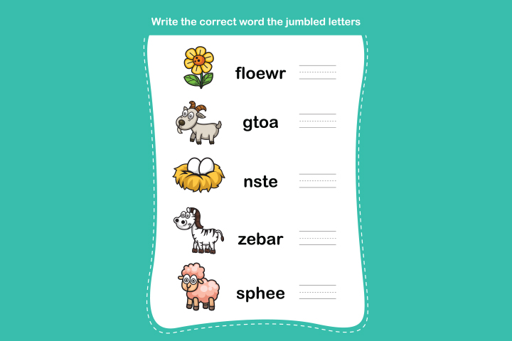 English Worksheets For Kids - Correct-The-Jumbled-Words Worksheet