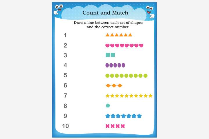 Activity Sheets For Preschoolers - Counting-The-Shapes Activity Sheet