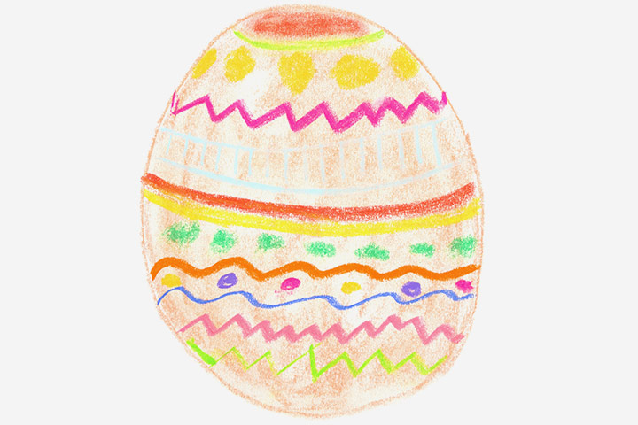 Easter Egg Crafts - Crayon Painting Of Easter Egg
