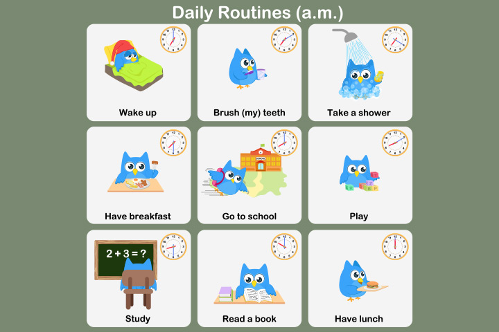 English Worksheets For Kids - Daily Routine Worksheet