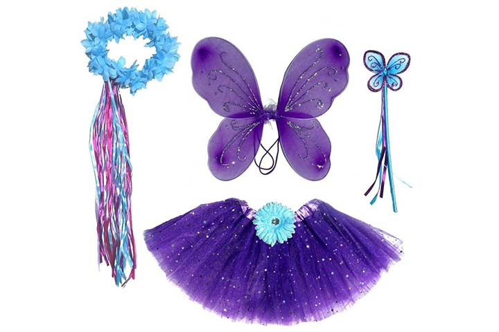 Enchantly Girls Dark Purple Teal Fairy Set