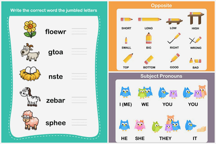 Number Names Worksheets list of opposites for preschoolers : 10 Free English Worksheets For Kids