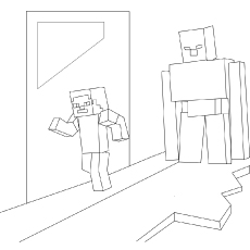 Iron Golem And Steve coloring pages