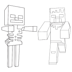 Minecraft Skelton coloring Page to Print