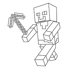 Wonderful Minecraft Character With Pickaxe In Hand Coloring Pages