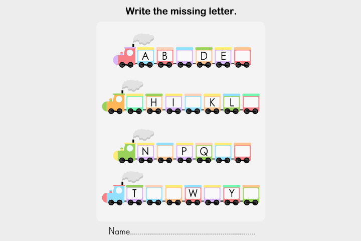 English Worksheets For Kids - Missing-The-Letter Worksheet