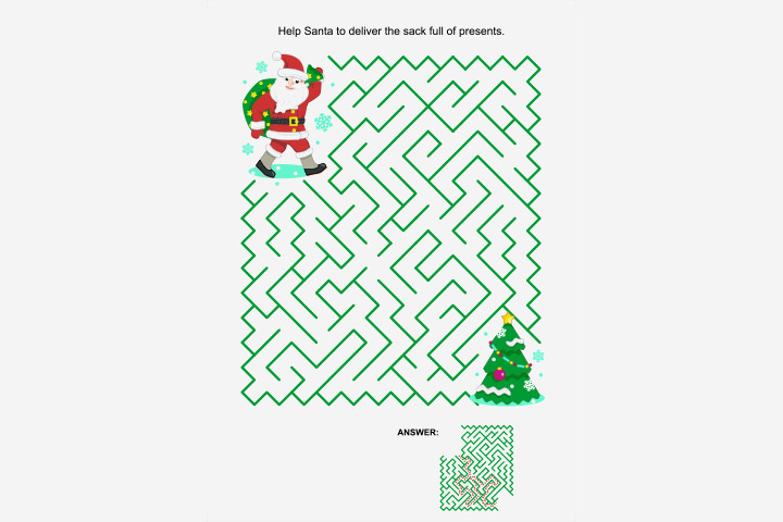 Activity Sheets For Preschoolers - Santa's Maze Activity Sheet For Kids