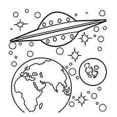 Solar System Uranus. Spaceship In Space Coloring Pages