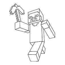 Minecraft Steve with Pickaxe in Hand Coloring Pages