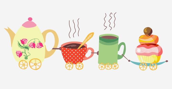 Tea Pot And Cups Train Craft