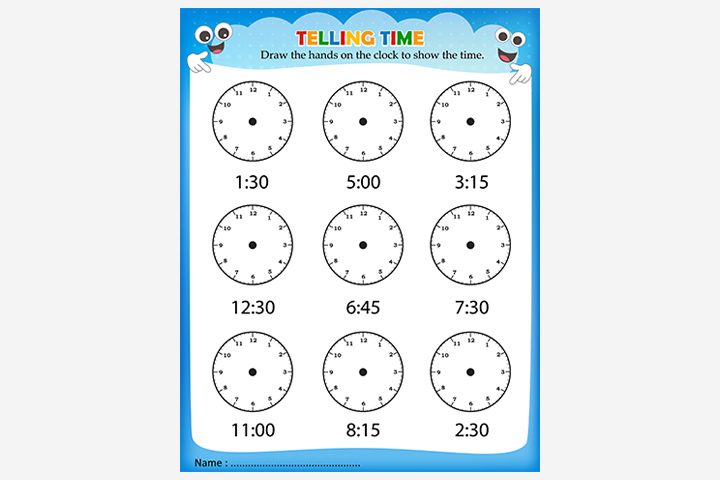 Activity Sheets For Preschoolers - Tell-The-Time Activity Sheet