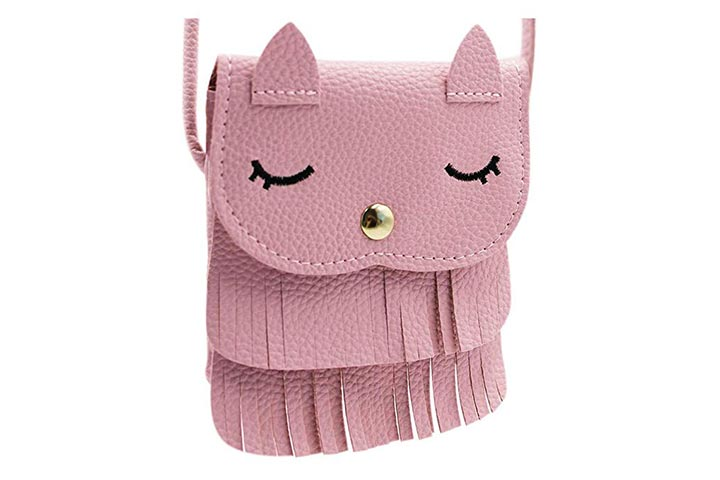 ZGMYC Kids Toddlers Cat Tassel Crossdy Bag Small Shoulder Purse
