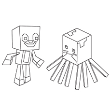 Squid and Stampy Coloring Sheet