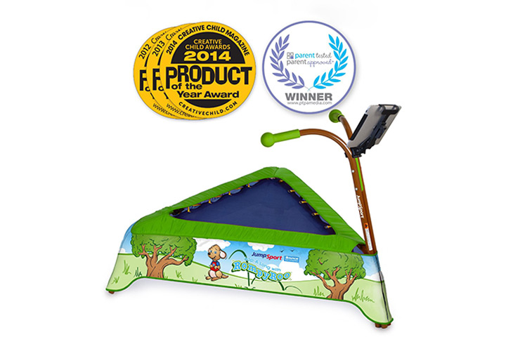 Trampolines For Kids - JumpSport iBounce Kids Trampoline with Tablet Holder And Handle Bars
