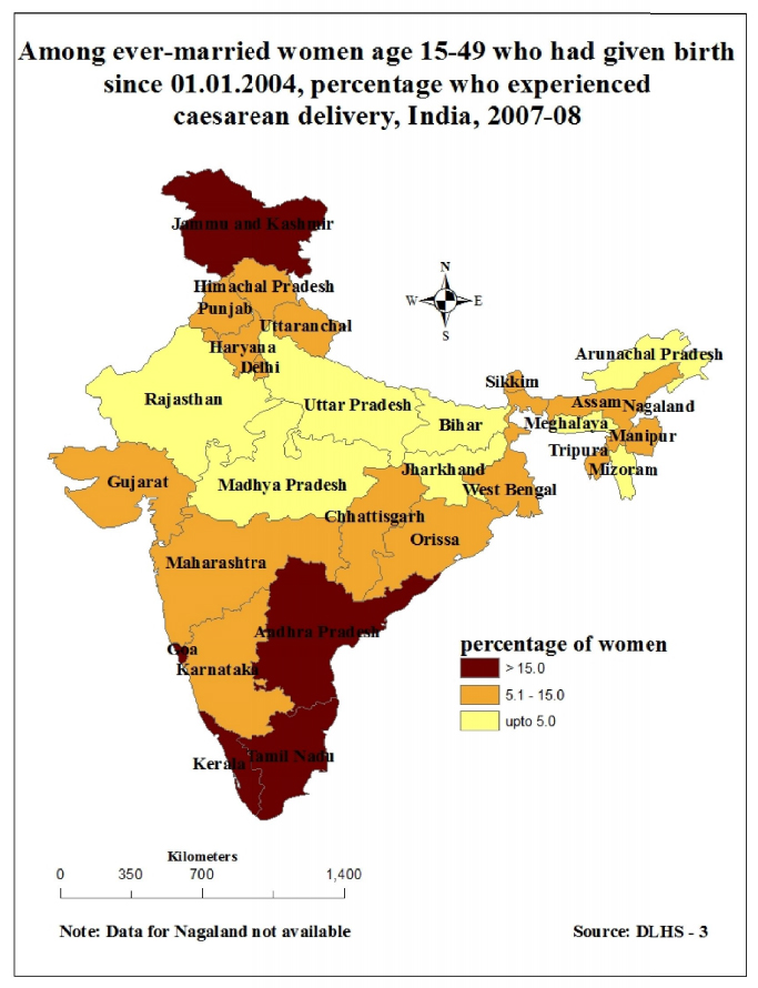 Spatial Variation in Caesarean Section Delivery in India