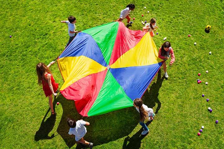 Rainbow parachute dance